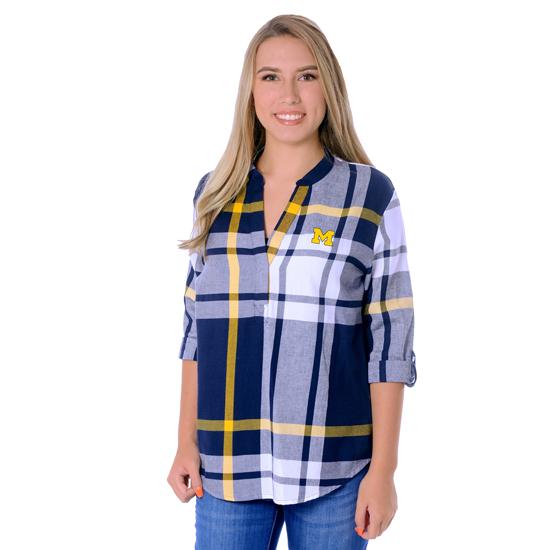 UG Apparel University of Michigan Women's Long Sleeve Plaid Tunic