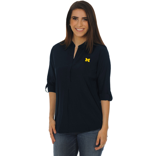 UG Apparel University of Michigan Navy Classic Long Sleeve Tunic