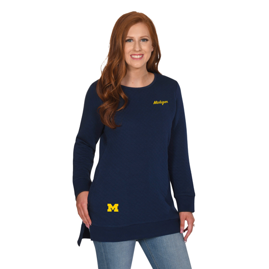 UG Apparel University of Michigan Women's Navy Quilted Pocket Tunic