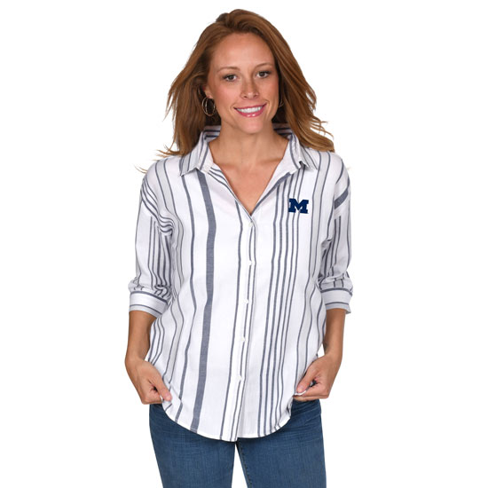 UG Apparel University of Michigan Women's White Striped Button-Up Top
