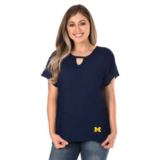 UG Apparel University of Michigan Women's Navy Flowy Keyhole Top