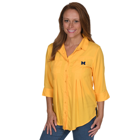 UG Apparel University of Michigan Women's Yellow ''Home Team'' Button Up Top