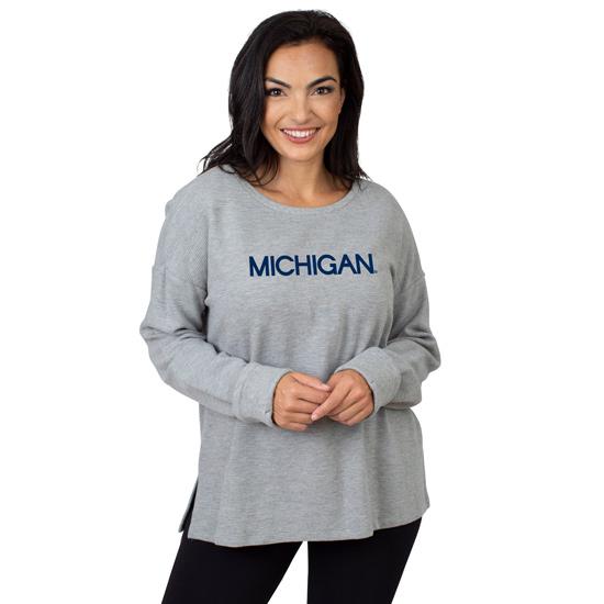 UG Apparel University of Michigan Women's Gray Ribbed Pullover