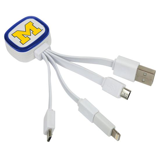 QuikVolt University of Michigan Tri-Charge USB Cable