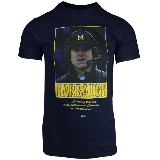 Valiant University of Michigan Football Coach Harbaugh EUTM Navy Tee