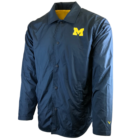 437928cf1fe Valiant University of Michigan Navy Coaches Button Up Nylon Jacket
