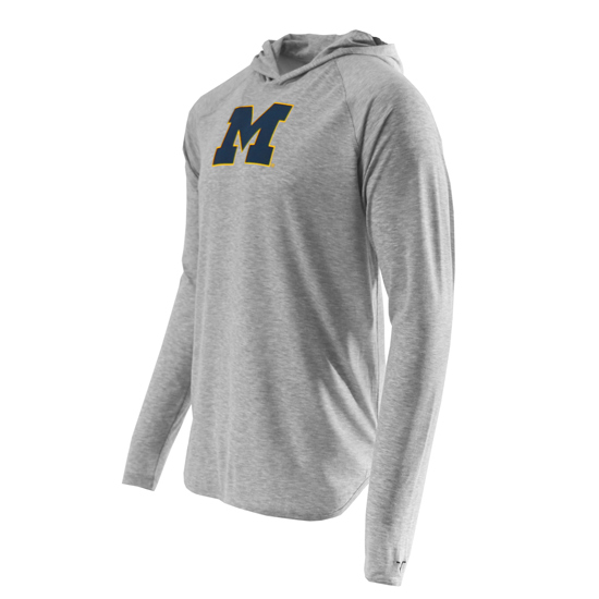 Valiant University of Michigan Light Heather Gray Long Sleeve Performance Hooded Tee