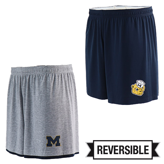 Valiant University of Michigan Navy/ Gray Reversible Shorts