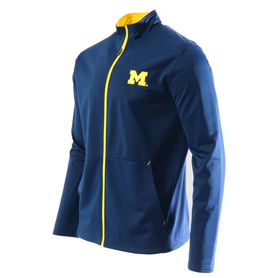 Valiant University of Michigan Navy Tricot Full Zip Track Jacket