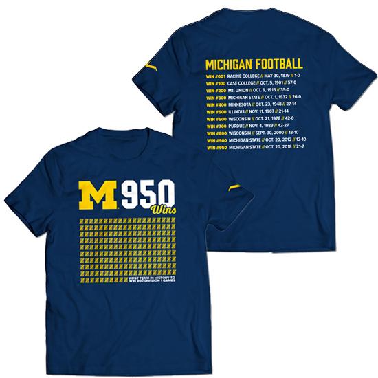 Valiant University of Michigan Football 950 Wins Front/Back Tee