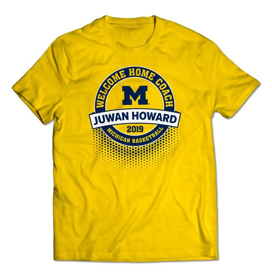 Valiant University of Michigan Basketball ''Welcome Home'' Juwan Howard Yellow Tee