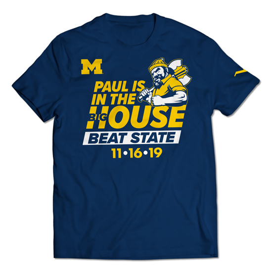 Valiant University of Michigan Football Paul Bunyan ''Beat State'' Tee