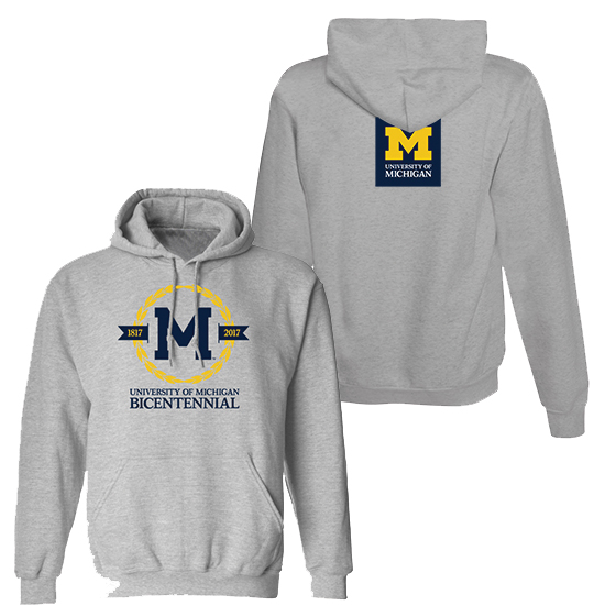 Valiant University of Michigan Bicentennial Gray Hooded Sweatshirt