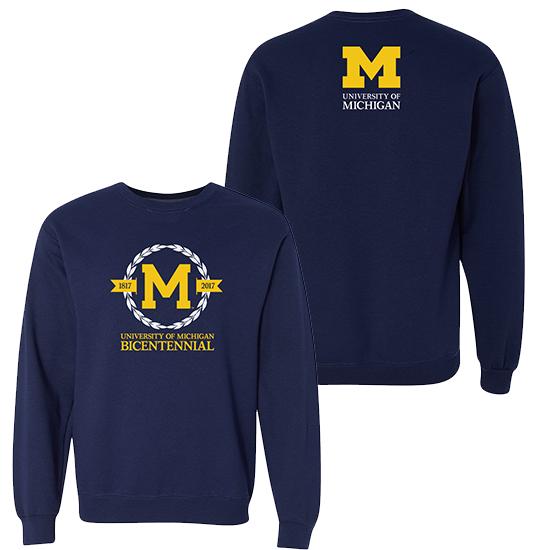 Valiant University of Michigan Bicentennial Navy Crewneck Sweatshirt