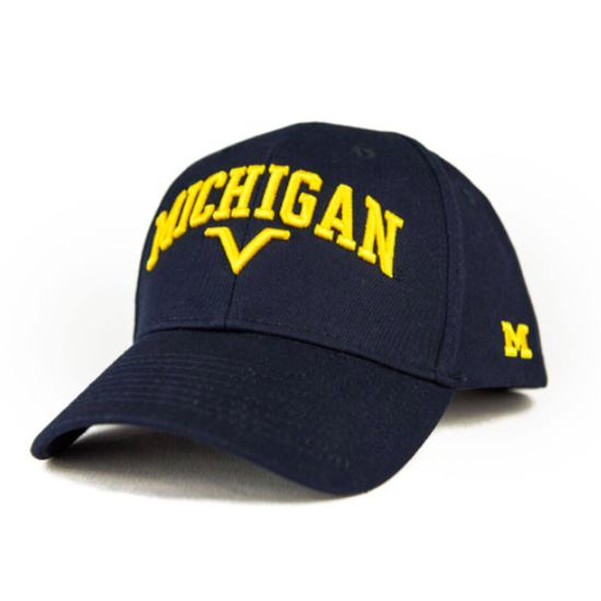 Valiant University of Michigan Navy Arched Structured Snapback Hat