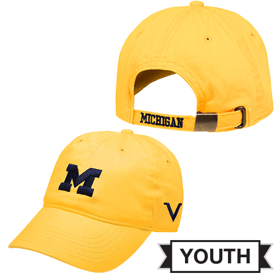 Valiant University of Michigan Youth Yellow Block ''M'' Slouch Hat