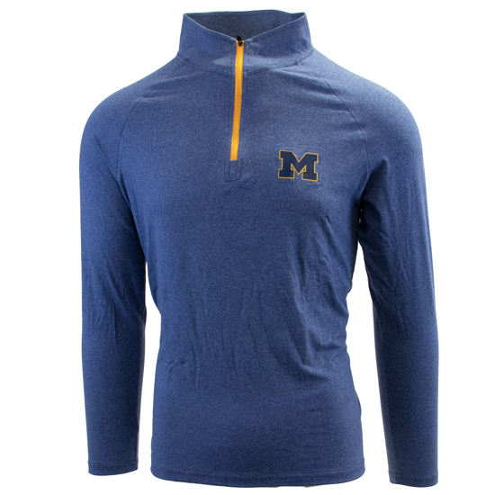 Valiant University of Michigan Heather Blue 1/4 Zip Pullover