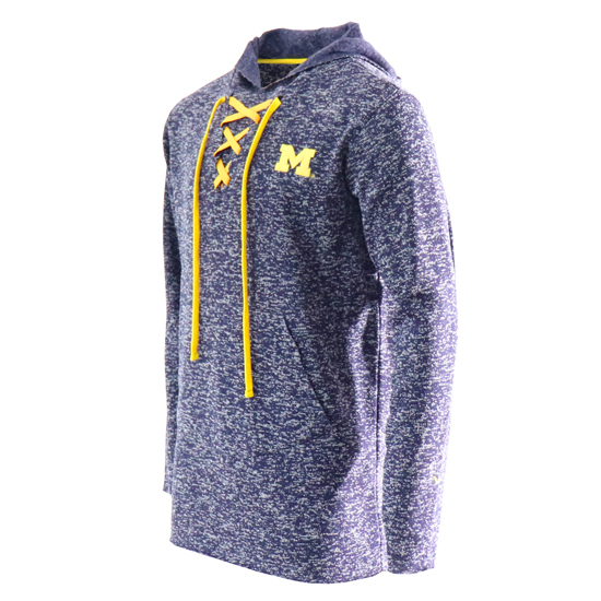 Valiant University of Michigan Heather Navy Knit Fleece Lace-Up Hooded Sweatshirt