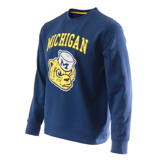 Valiant University of Michigan Navy College Vault Wolverine Crewneck Sweatshirt
