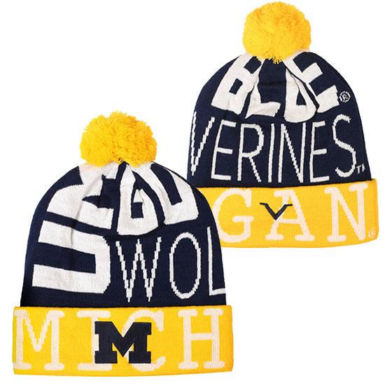 Valiant University of Michigan Navy/ Yellow ''Go Blue'' Cuffed Pom Knit Hat