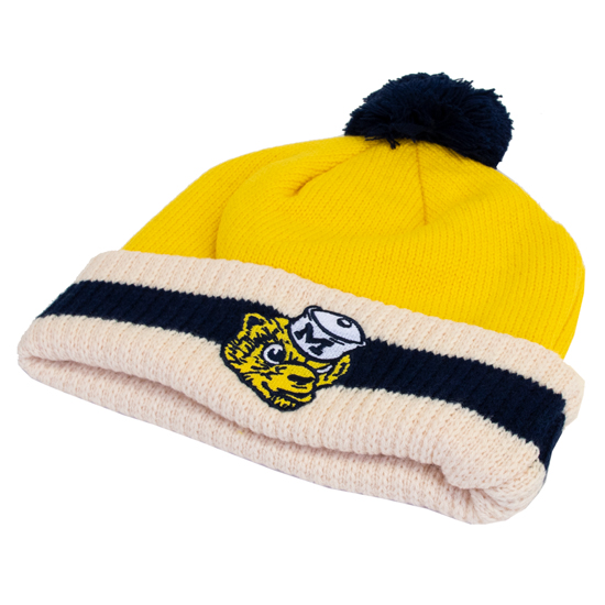 d6c44168a03955 ... Yellow Vintage College Vault Wolverine Cuffed Pom Knit Hat. Product  Thumbnail Product Thumbnail
