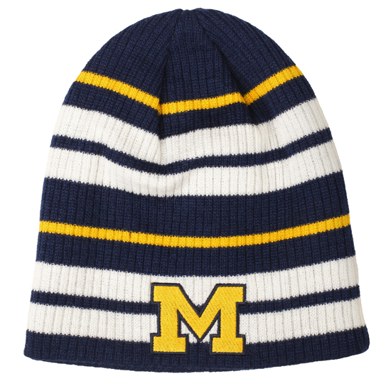 Valiant University of Michigan Navy/ Yellow/ White Striped Beanie Knit Hat