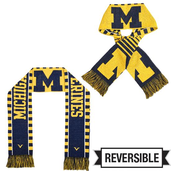 Valiant University of Michigan Reversible Jacquard Knit Scarf