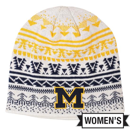 Valiant University of Michigan Women's White Knit Beanie Hat