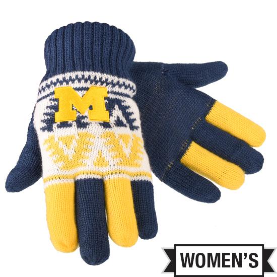 Valiant University of Michigan Women's Navy/Yellow/White Knit Gloves