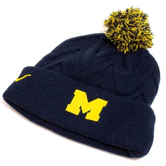 Valiant University of Michigan Women's Navy Chevron Knit Cuffed Pom Knit Hat