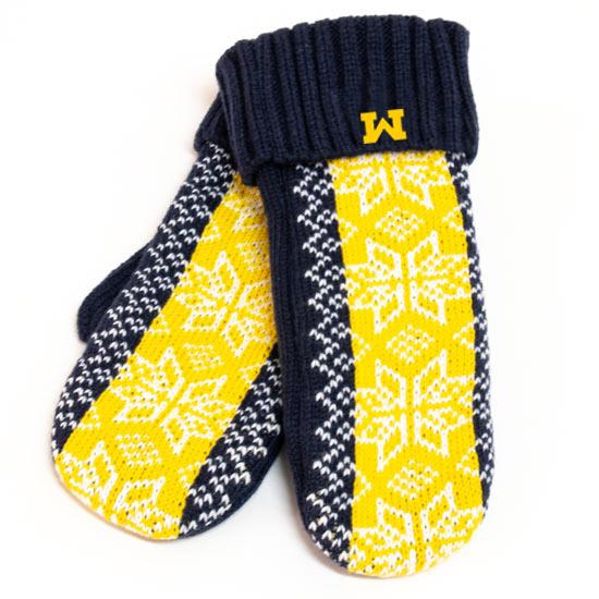 Valiant University of Michigan Women's Jacquard Snowflake Mittens