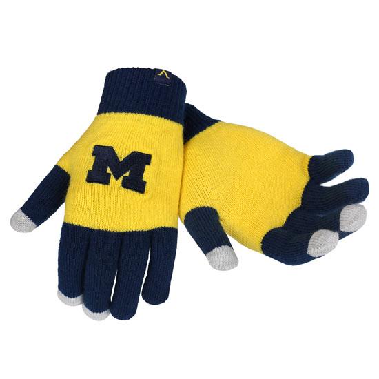 Valiant University of Michigan Women's Navy/ Yellow Tech Knit Gloves