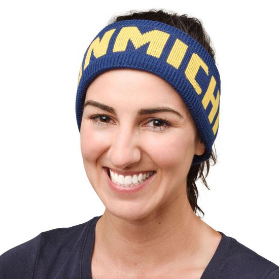 Valiant University of Michigan Navy ''Michigan'' Jacquard Knit Earband