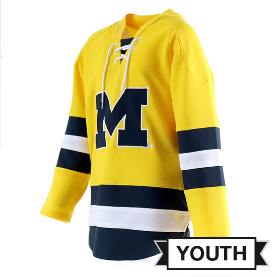 Valiant University of Michigan Youth Yellow Lace-Up Hockey Jersey