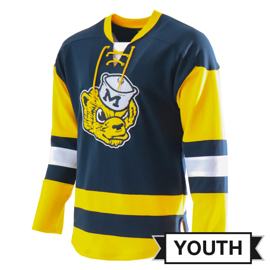 Valiant University of Michigan Hockey Youth Navy College Vault Wolverine Lace-Up Jersey