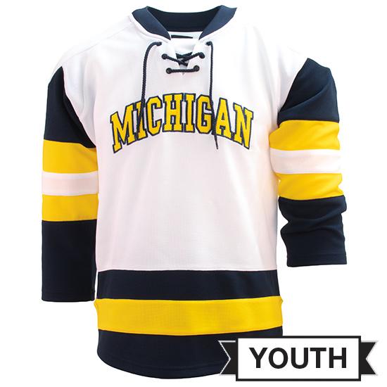 Valiant University of Michigan Hockey Youth White ''Michigan'' Lace-Up Jersey