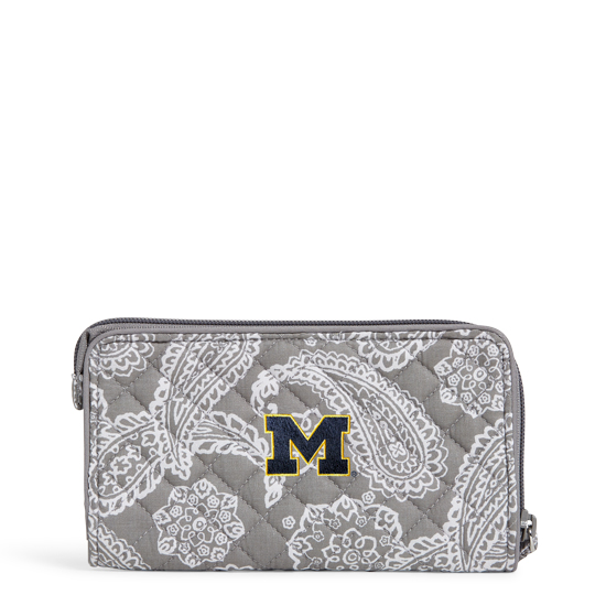 Vera Bradley University of Michigan Gray/White Iconic RFID Front Zip Wristlet