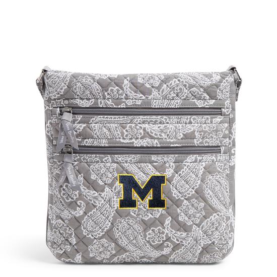 Vera Bradley University of Michigan Gray/White Bandana Iconic Triple Zip Crossbody Hipster Bag