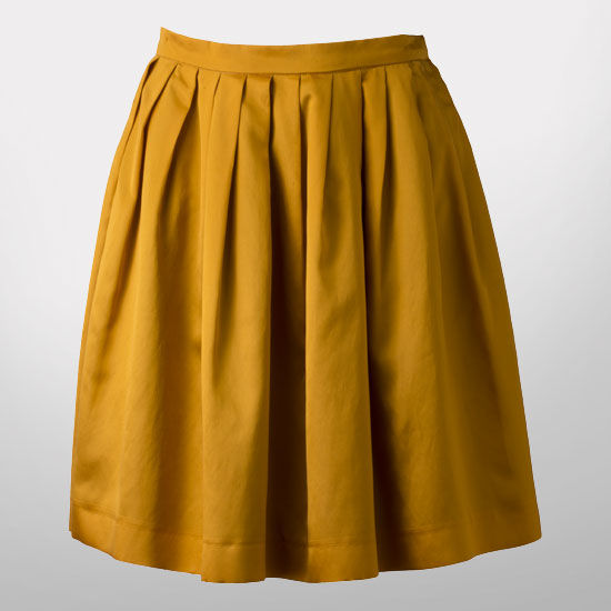 The Victors Collection by The M Den Ladies Yellow Pleated Skirt