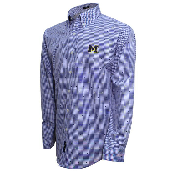 Vesi University of Michigan Blue Clip Gingham Sport Shirt