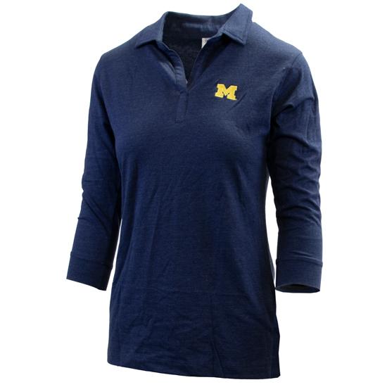 Vesi University of Michigan Women's Heather Navy 3/4 Sleeve Polo