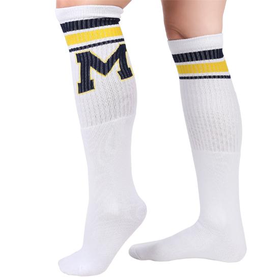 Valiant University of Michigan White Block ''M'' Knee High Socks