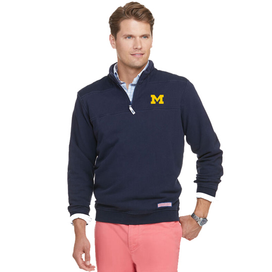 Vineyard Vines University of Michigan Navy 1/4 Zip Pullover ''Shep Shirt''