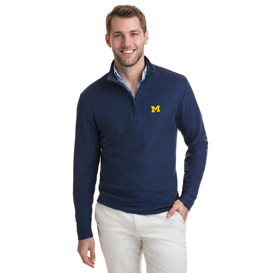 Vineyard Vines University of Michigan Navy Jersey 1/4 Zip Pullover