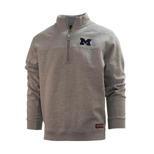 Vineyard Vines University of Michigan Grey 1/4 Zip Pullover ''Shep Shirt''
