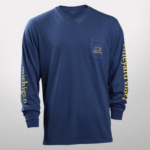Vineyard Vines University of Michigan Navy Long Sleeve Tee