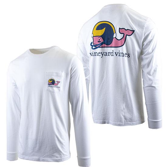 Vineyard Vines University of Michigan Football White Long Sleeve ''Football Whale'' Tee