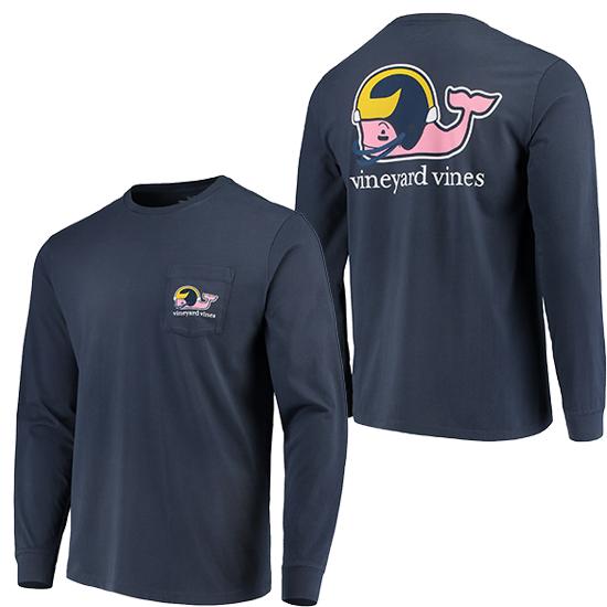 Vineyard Vines University of Michigan Football Navy Long Sleeve ''Football Whale'' Tee