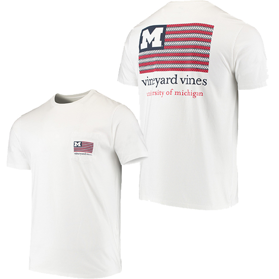 Vineyard Vines University of Michigan White Americana Tee