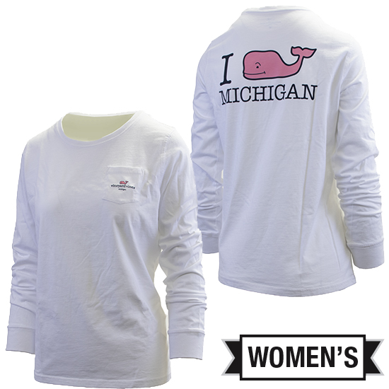 Vineyard Vines University of Michigan Women's White Long Sleeve Tee